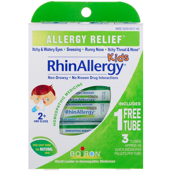 Kids, RhinAllergy, 3 Tubes, 80 Quick-Dissolving Pellets Each