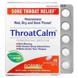 Boiron, ThroatCalm, Sore Throat Relief, 60 Quick-Dissolving Tablets