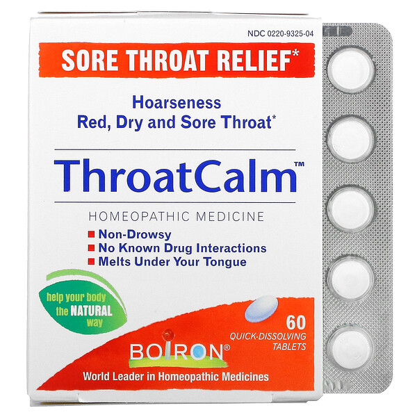 ThroatCalm, Sore Throat Relief, 60 Quick-Dissolving Tablets