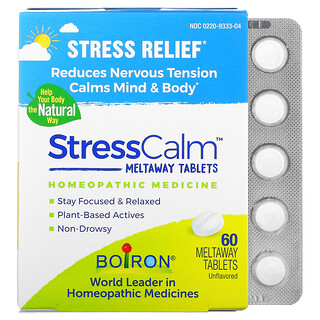 Boiron, Stress Calm Meltaway Tablets, Stress Relief, Unflavored, 60 Meltaway Tablets