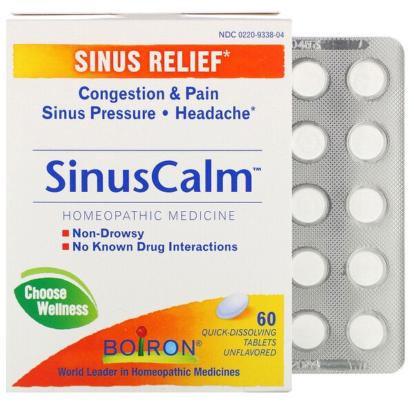 SinusCalm, Sinus Relief, Unflavored, 60 Quick-Dissolving Tablets