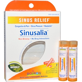 Boiron, Sinusalia, Sinus Relief, 2 Tubes, Approx. 80 Quick-Dissolving Pellets Each