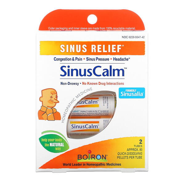 SinusCalm Sinus Relief, 2 Tubes, Approx. 80 Quick-Dissolving Pallets Per Tube