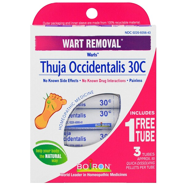 Thuja Occidentalis 30C, Wart Removal, 3 Tubes, Approx 80 Pellets Each