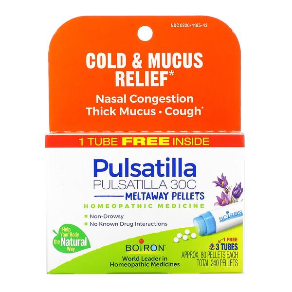 Pulsatilla, Cold & Mucus Relief, Meltaway Pellets, 30C, 3 Tubes, 80 Pellets Each