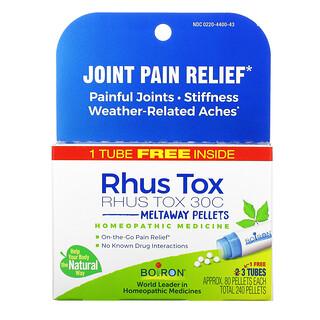Boiron, Rhus Tox, Joint Pain Relief, Meltaway Pellets, 30C, 3 Tubes, 80 Pellets Each