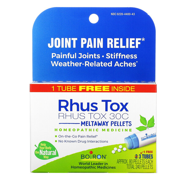Rhus Tox, Joint Pain Relief, Meltaway Pellets, 30C, 3 Tubes, 80 Pellets Each