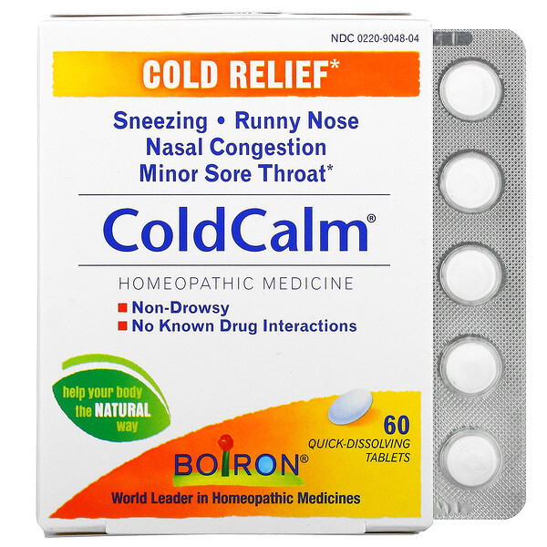 Boiron, ColdCalm, Cold Relief, 60 Quick-Dissolving Tablets