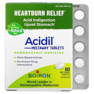 Boiron, Acidil, Acid Indigestion, Unflavored, 60 Meltaway Tablets