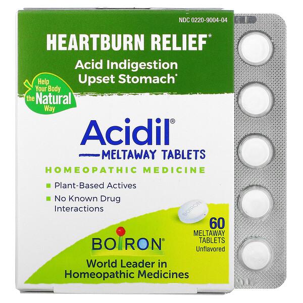 Acidil, Acid Indigestion, Unflavored, 60 Meltaway Tablets
