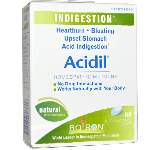 Boiron, Acidil, indigestion, 60 tabletas de rápida disolución