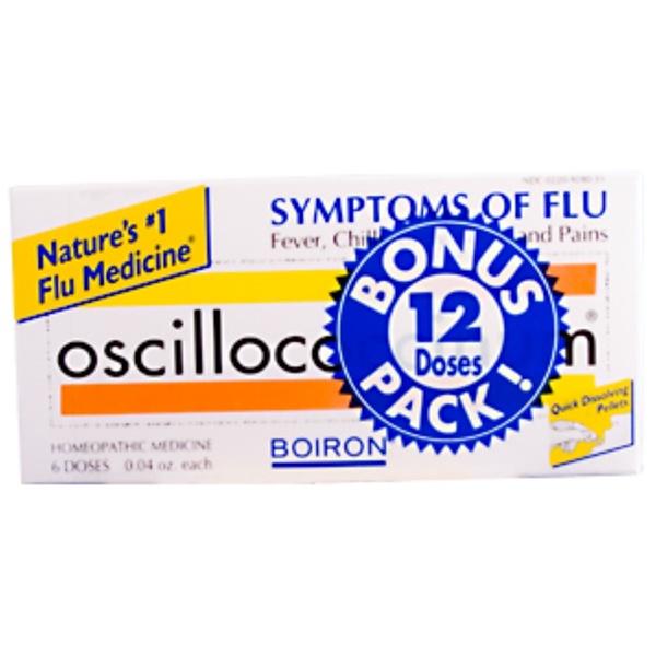 Boiron, Oscillococcinum Homeopathic Flu Medicine, Bonus Pack, 12 Doses (Discontinued Item)