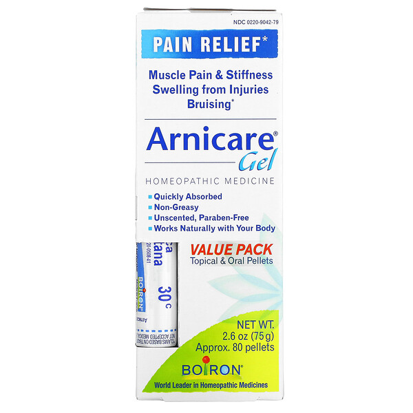 Topical & Oral Pellets Value Pack, Arnica Gel Pain Relief, 2.6 oz (75 g) Tube Approx.  80 Pellets