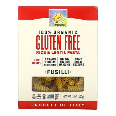 Bionaturae Organic Gluten Free Rice & Lentil Pasta, 12 oz (340 g)