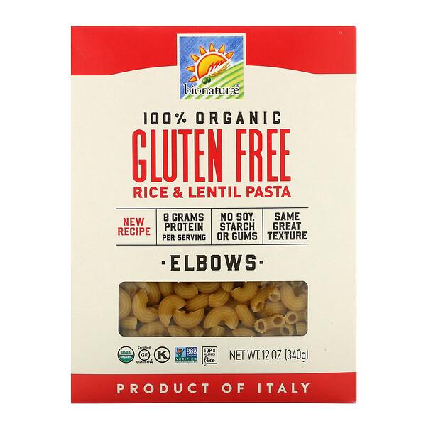 Pasta de arroz y lentejas, 100% orgánica, Sin gluten, Codos, 340g (12oz)