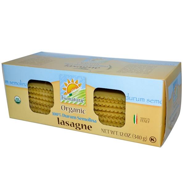 Bionaturae, 有機100%粗粒硬質小麥意大利千層面,12盎司(340 克)