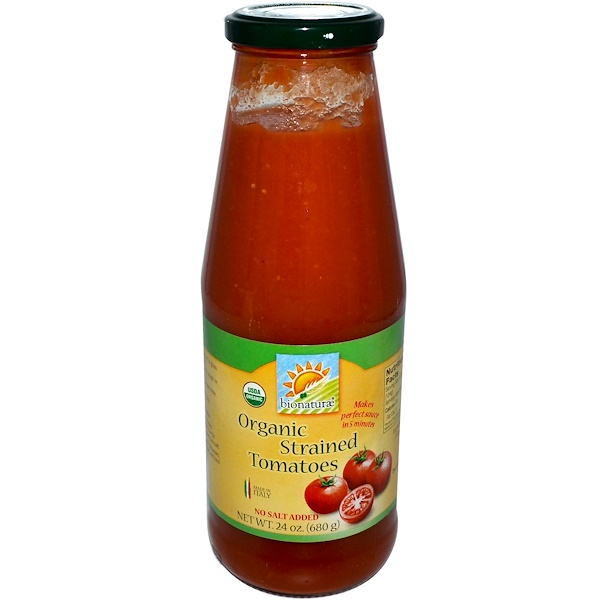 Bionaturae, オーガニック ストレインド トマト,塩分不添加, 24 oz (680 g) (Discontinued Item)