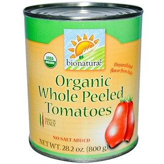 Bionaturae, Organic Whole Peeled Tomatoes, No Salt Added, 1.76 lbs (800 g)