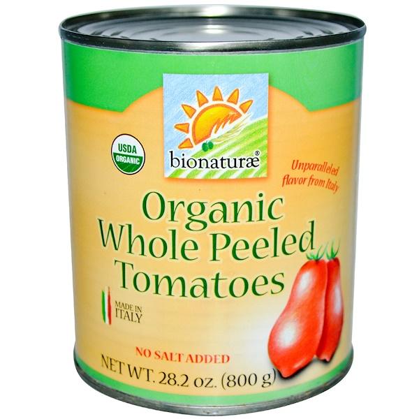 Bionaturae, Органические цельные очищенные томаты, без соли, 28,2 унции (800 г)
