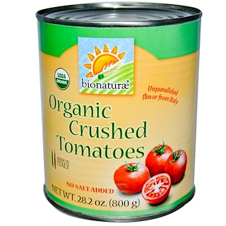 Bionaturae, Organic Crushed Tomatoes, No Salt Added, 1.76 lbs (800 g)