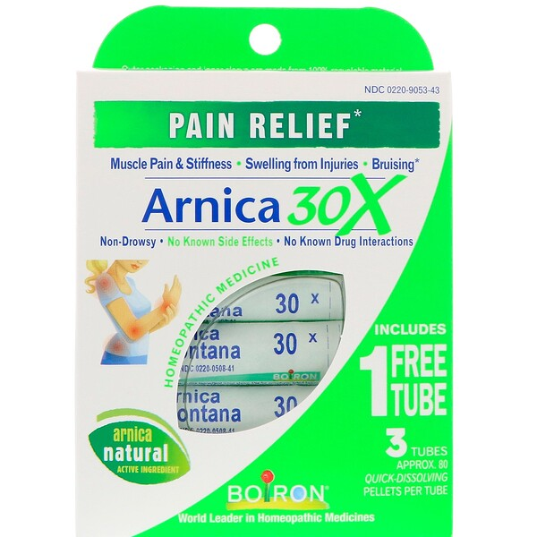 Boiron, Single Remedies, Arnica 30X, 3 Tubes, Approx. 80 Quick-Dissolving Pellets Each