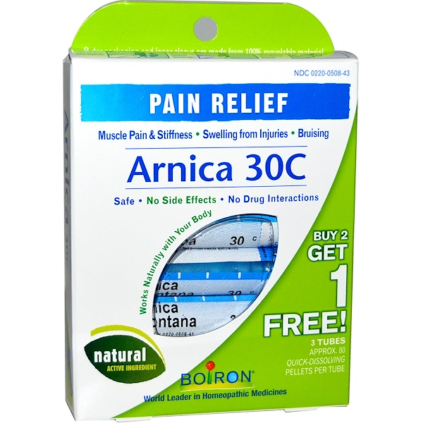 Boiron, Single Remedies, Arnica 30C, 3 Tubes, 80 Pellets Each