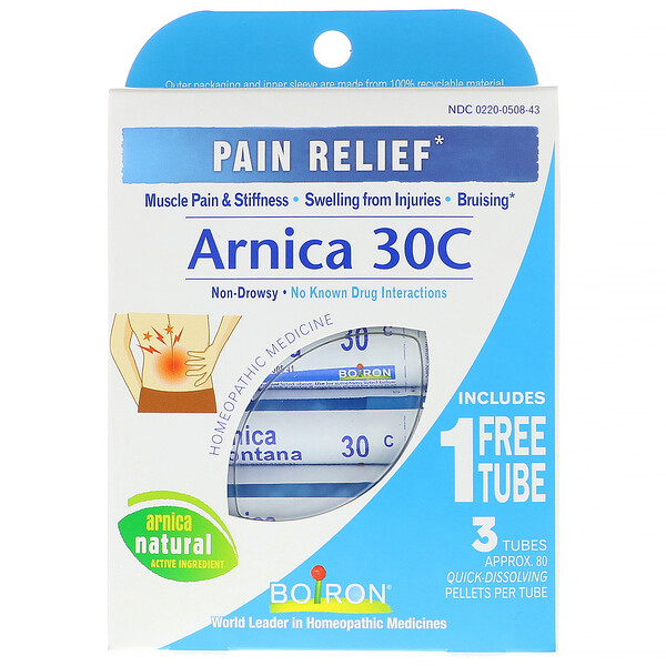 Boiron, Single Remedies, Arnica 30C, Pain Relief, 3 Tubes, 80 Pellets Each