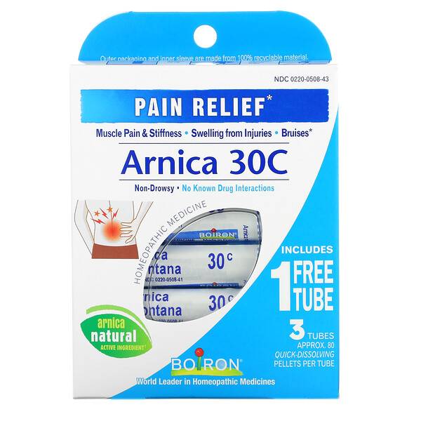 Arnica, Pain Relief, 30C, 3 Tubes, Approx. 80 Pellets Each
