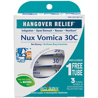 Boiron, Single Remedies, Nux Vomica, 30C, 3 Tubes, Approx 80 Pellets Each