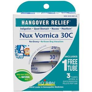 Boiron, Single Remedies, Чилибуха (Nux Vomica), 30C, 3 тубы, приблизительно 80 гранул в каждой