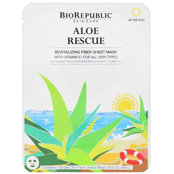 BioRepublic Skincare, Aloe Rescue, Revitalizing Fiber Sheet Mask, 1 Sheet, 0.63 oz (18 ml)