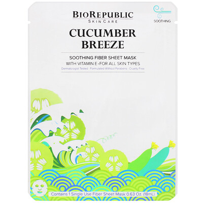 Купить BioRepublic Skincare Cucumber Breeze, Soothing Fiber Sheet Mask, 1 Sheet, 0.63 oz (18 ml)