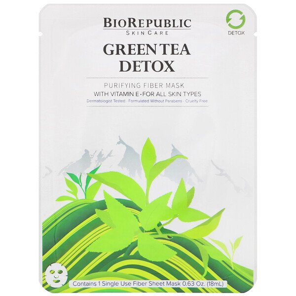 Green Tea Detox, Purifying Fiber Mask, 1 Sheet, 0.63 oz (18 ml)