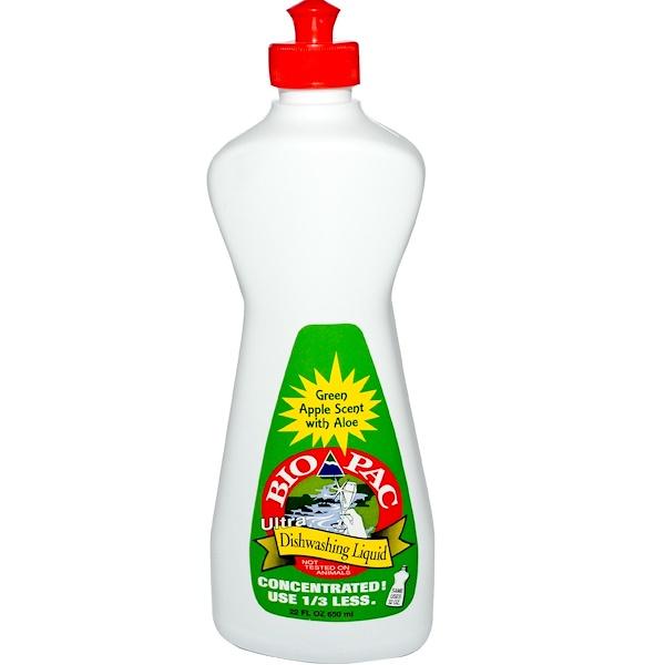 Bio-Pac, Ultra Dishwashing Liquid, Green Apple Scent with Aloe, 22 fl oz (650 ml) (Discontinued Item)