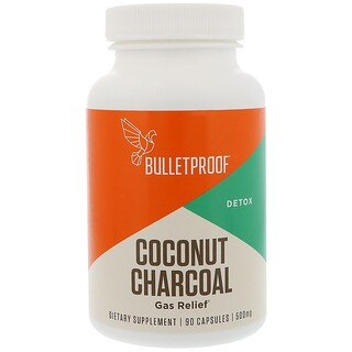 BulletProof, Coconut Charcoal, Detox, Gas Relief, 500 mg, 90 Capsules