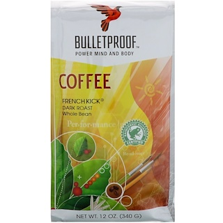 BulletProof, Coffee, French Kick, Dark Roast, Whole Bean , 12 oz (340 g)