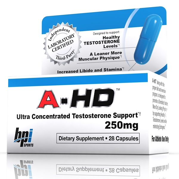 BPI Sports, A-HD, Ultra Concentrated Testosterone Support, 250 mg, 28 Capsules (Discontinued Item)