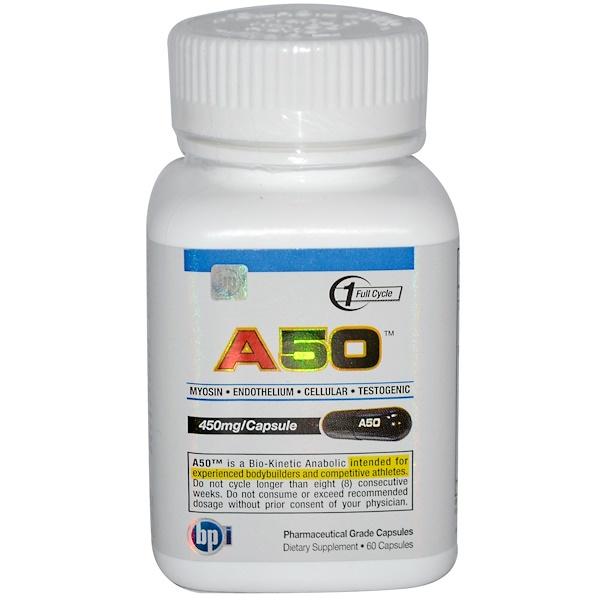 BPI Sports, A50, Myosin • Endothelium • Cellular • Testogenic, 450 mg, 60 Capsules (Discontinued Item)