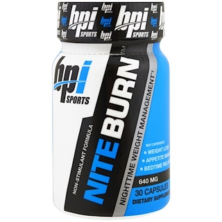 BPI Sports, NiteBurn, Nighttime Weight Management, 640 mg, 30 Capsules