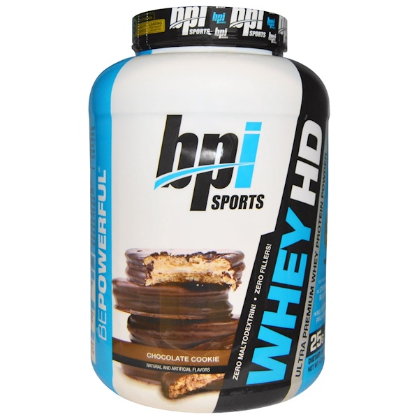 BPI Sports, Whey HD, Ultra Premium Whey Protein Powder, Chocolate Cookie, 4.75 lbs (2,156 g) (Discontinued Item)
