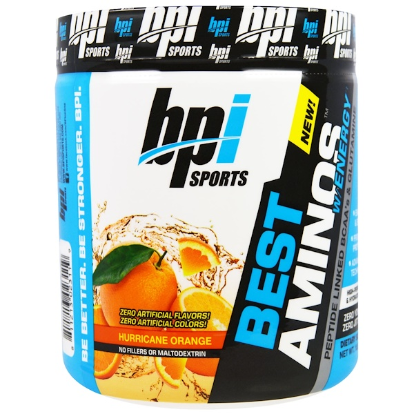 BPI Sports, Best Amino with Energy, Peptide Linked BCAA's & Glutamine, Hurricane Orange, 10.58 oz (300 g) (Discontinued Item)