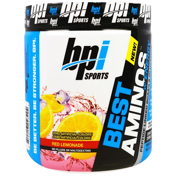 BPI Sports, Best Aminos W/ Energy, Peptide Linked BCAA's & Glutamine, Red Lemonade, 10.58 oz (300 g) (Discontinued Item)