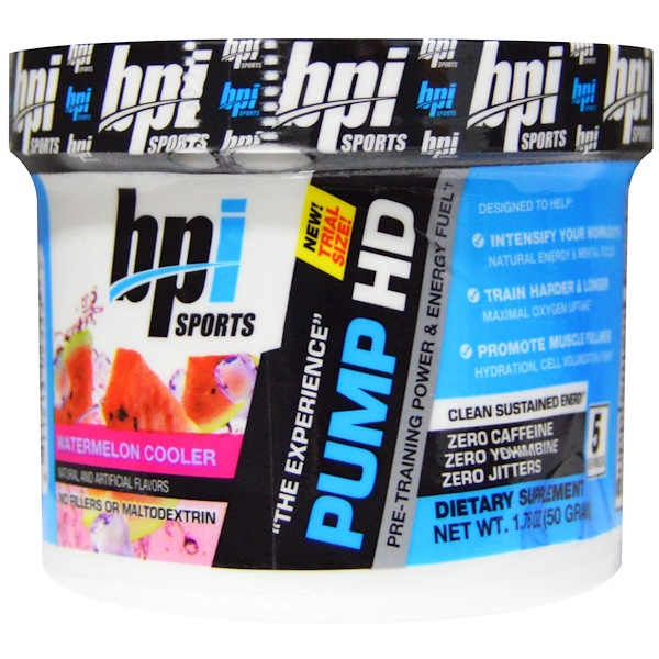 BPI Sports, Pump HD, Single Serving Trial, Watermelon Cooler, 1.76 oz (50 g) (Discontinued Item)