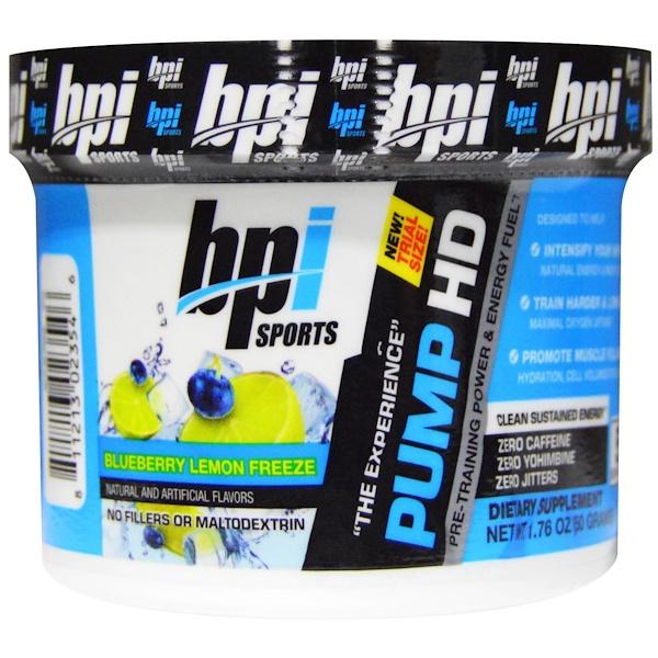 BPI Sports, Pump HD, Blueberry Lemon Freeze, Single Serving Trial, 1.76 oz (50 g) (Discontinued Item)