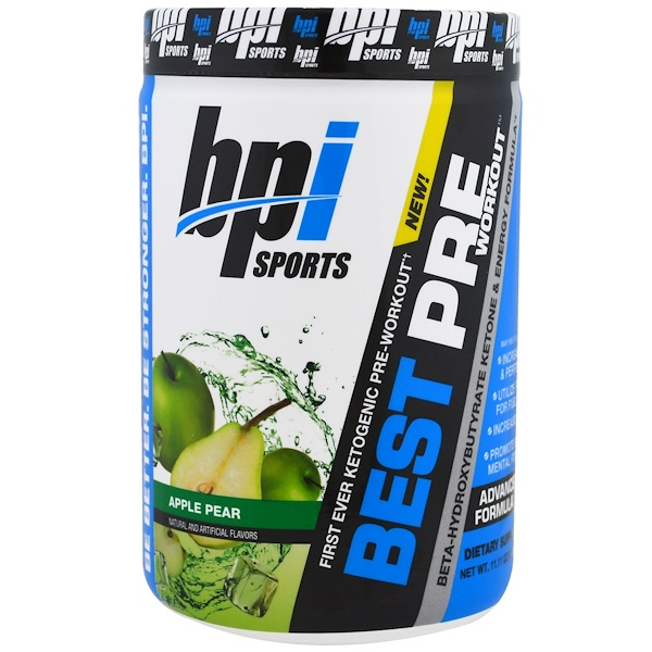 BPI Sports, 鍛煉前最佳補充品,β-羥基丁酸酯酮及能量配方,蘋果梨,11、11盎司(315克)