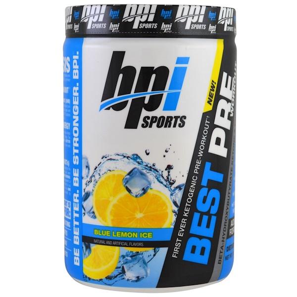 BPI Sports, Best Pre Workout, cetona beta-hidroxibutirato y fórmula energética, hielo azul limón, 11.11 oz (315 g) (Discontinued Item)