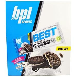 БПА Спортс, Best Protein Bars, Cookies and Cream, 12 Bars, 2.26 oz (64 g) Each отзывы