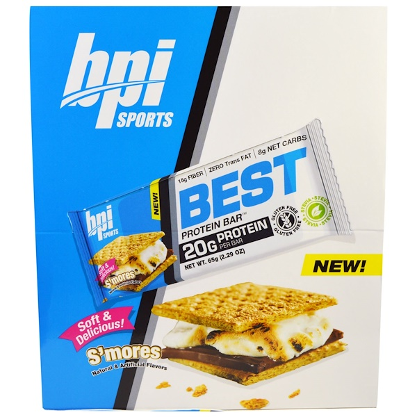 BPI Sports, Best Protein Bars, S'Mores , 12 Bars, 2.29 oz (65 g) Each (Discontinued Item)