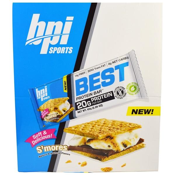 BPI Sports, ベストプロテインバー、 スモア 、 12バー、 2.29 oz (65 g) Each (Discontinued Item)