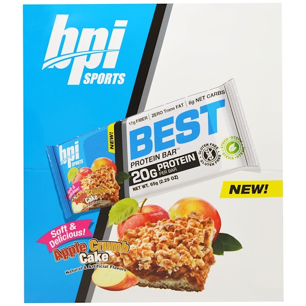 BPI Sports, Best Protein Bar, Apple Crumb Cake, 12 Bars, 2.29 oz (65 g) Each (Discontinued Item)